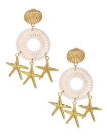Fashion Gold Alloy Braided Wax Rope Shell Starfish Earrings