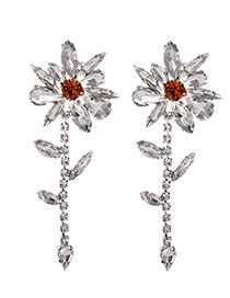 Fashion White Alloy Diamond Flower Earrings