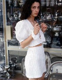 Fashion White Pleated Lace Top + Pleated Shorts Set