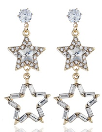 Fashion Gold Diamond Five-pointed Star Earrings