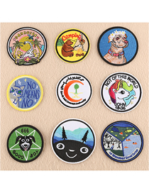 Fashion Color Embroidered Round Animal Avatar Badge Patch Stickers 9