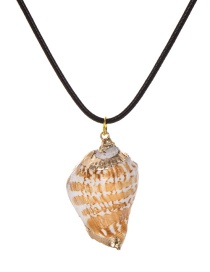 Fashion Black Pu Conch Necklace