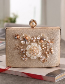 Fashion Champagne Handmade Pearl Small Square Bag