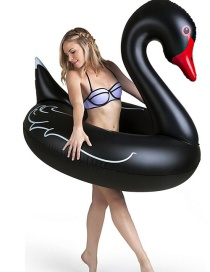 Fashion Black Swan Inflatable Floating Row Mount Swimming Ring