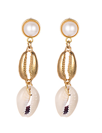 Fashion Gold Alloy Resin Pearl Shell Earrings