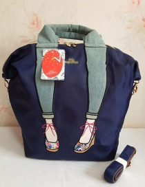 Fashion Navy Embroidered Legs With Diagonal Shoulder Bag