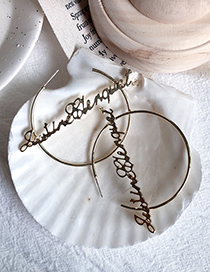Fashion Gold Letter String Big Ring Earrings