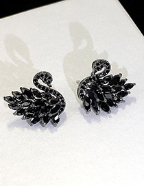 Fashion Black S925 Sterling Silver Needle Swan Diamond Stud Earrings