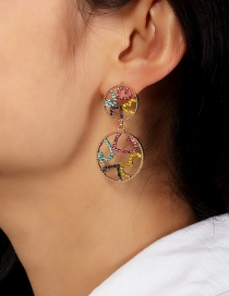 Fashion Color Diamond-shaped Hollow Earrings