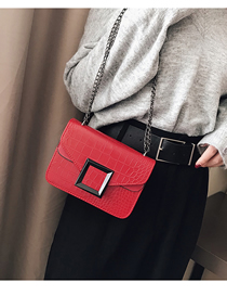 Fashion Red Crocodile Shoulder Crossbody Bag