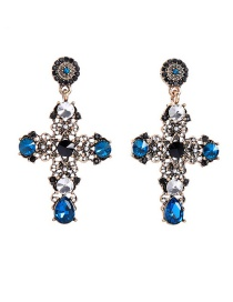 Fashion Blue Flower-studded Cross Stud Earrings