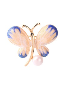 Fashion Blue Butterfly Drip Brooch