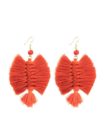 Fashion Orange Alloy Wire Tassel Earrings