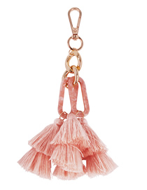 Fashion Pink Alloy Resin Tassel Keychain