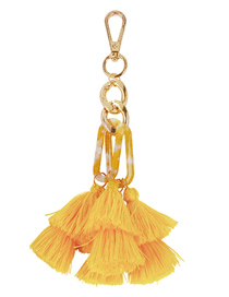 Fashion Yellow Alloy Resin Tassel Keychain