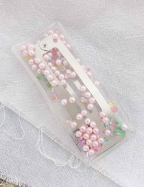 Fashion Pink Beads Sequins Imitation Pearl Hairpin