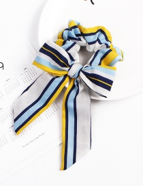 Fashion Striped Bow Yellow Long Print Hair Band