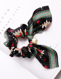 Fashion Diamond Pearl Black Printed Bow Long Ribbon Hair Band