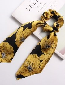 Fashion Flower Ribbon Gold Satin Printed Silk Scarf Large Intestine Hair Ring