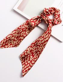 Fashion Round Leopard Ribbon Red Bow Elastic Hair Band