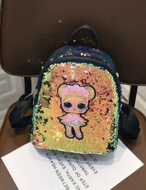 Fashion Small Gold Cartoon Girl Sequin Backpack
