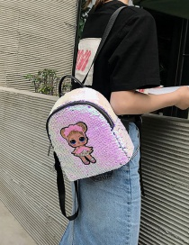 Fashion Small Colorful Cartoon Girl Sequin Backpack