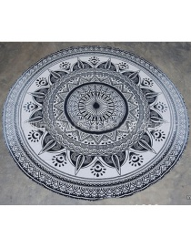 Fashion 42 Black Gray Gradient Round Peacock Flower Beach Towel