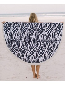 Fashion 16 White + Navy Round Printed Tassel Shawl Beach Towel