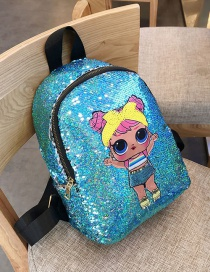 Fashion Blue Sequined Shoulder Bag