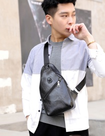 Fashion Black Puusb Charging Shoulder-slung Chest Bag