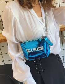 Fashion Blue Laser Printed Letter Shoulder Diagonal Chest Bag