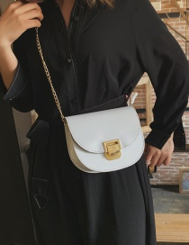 Fashion White Magnetic Buckle Crossbody Shoulder Bag