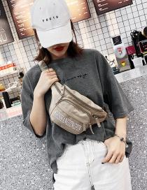 Fashion Khaki Letter Print Diagonal Cross Chest Bag