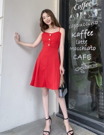 Fashion Red Rose Button Sling Dress