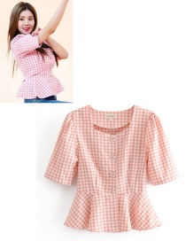 Fashion Orange Pink Plaid Ruffled Hem Shirt