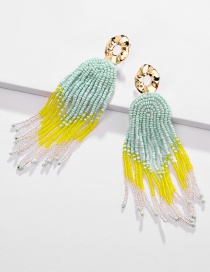 Fashion Green Color Contrast Multi-layer Tassel Earrings