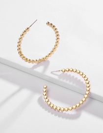 Fashion Gold Copper Beads C-shaped Earrings