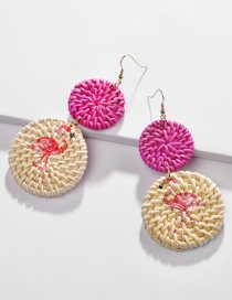 Fashion Color Rattan Flamingo Earrings