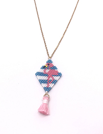 Fashion Ostrich Flamingo Stainless Steel Plated Rice Beads Woven Necklace