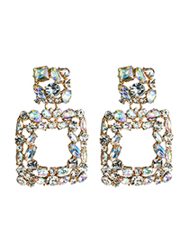 Fashion White Square Diamond Earrings