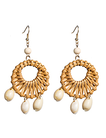 Fashion Brown Multi-layer Hollow Woven Earrings