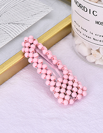 Fashion Pink Alloy Resin Triangle Bead Hair Clip