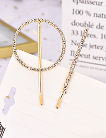 Fashion Round Alloy Diamond Round Hair Clip Two-piece