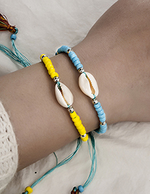 Fashion Color Woven String Rice Beads Shell Tassel Bracelet Two-piece