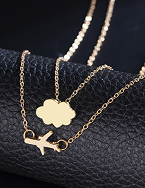 Fashion Gold Airplane Cloud Double Layer Necklace
