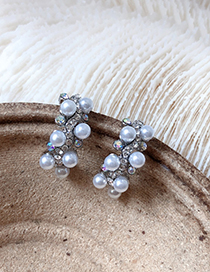 Fashion Silver S925 Silver Needle Pearl Studded Semicircular Stud Earrings
