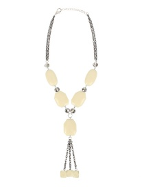 Fashion Yellow Crystal Shaped Beaded Tassel Pendant Necklace