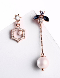 Fashion Rose Gold Geometric Asymmetric Insect Studded Pearl Earrings