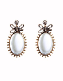 Fashion Russian Gold Bow And Pearl Stud Earrings