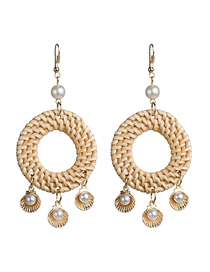 Fashion Gold Multi-layer Shell Inlaid Pearl Woven Earrings